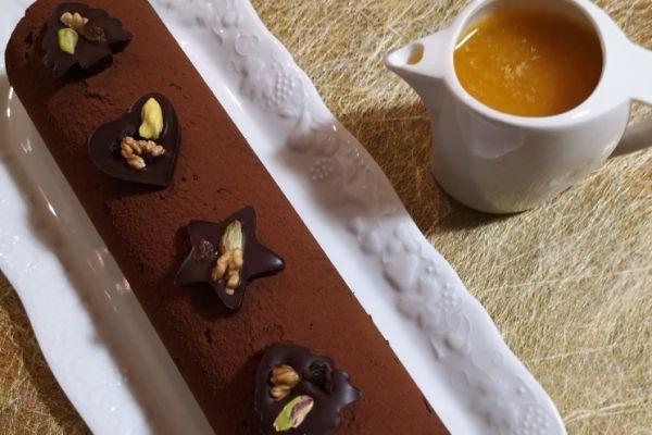 Bûche chocolat, sauce à l'orange